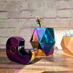 Multicolor Metallic Tape Dispenser & Pencil Cup
